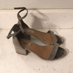 Gray suede Steve Madden heeled sandals